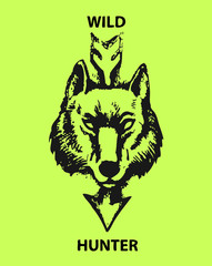 Wolf head and the arrow on green background