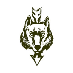Wolf head and the arrow on white background
