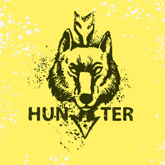 Wolf head with text hunter