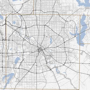 Map Dallas city. Texas Roads