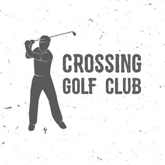 Golf club concept with golfer silhouette.