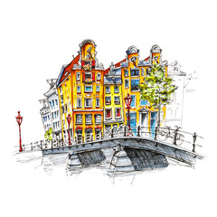 Color hand drawing, city view of Amsterdam typical houses and bridge, Holland, Netherlands. Picture made liner and markers