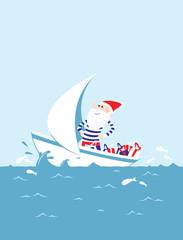 Père Noël Breton navigant sur la mer