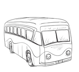 Hand drawn cartoon bus
