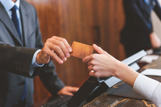 Customer paying for services in hotel