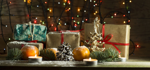 New year composition with tangerines and gifts