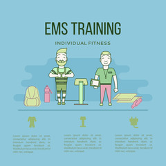 Ems training web banner or template in flat style.  Vector illustration