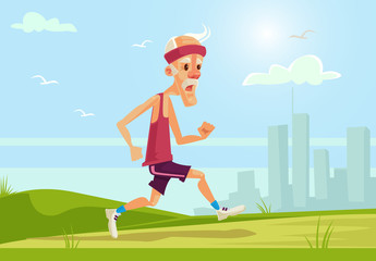 Old sport man character running. Healthy lifestyle. Vector flat cartoon illustration