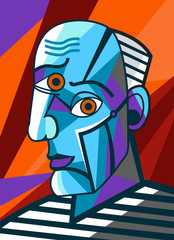 cubist great painter face portrait painting