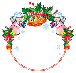 Christmas round label with cute angels. Copy space. Christmas holiday background