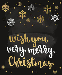 Wish You Very Merry Christmas. Holiday greeting card with calligraphy and decorative elements.