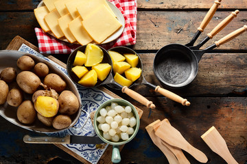 Preparing a traditional Swiss meal of raclette
