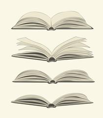 Set of vintage open books
