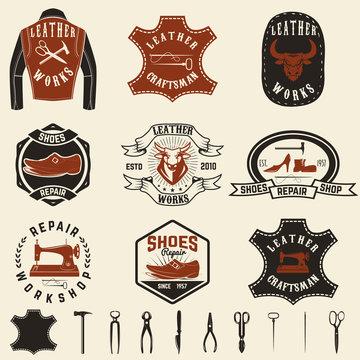 Set of repair workshop labels and design elements. Leather works, shoe repair,  apparel workshop. Design element for logo, label, emblem, sign, brand mark. Vector illustration.