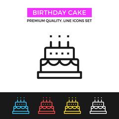 Vector birthday cake icon. Thin line icon