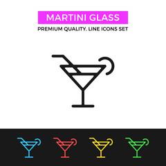Vector martini glass icon. Cocktail concept. Thin line icon