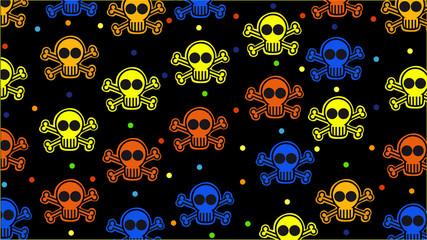 Colored skulls background on black.