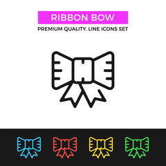 Vector ribbon bow icon. Thin line icon