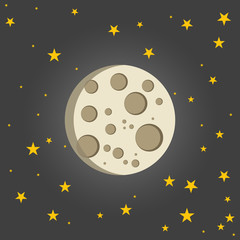 Vector illustration of moon with star sky