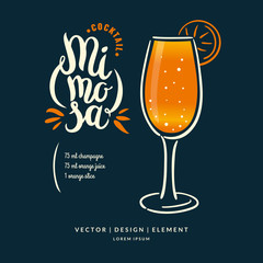 Modern hand drawn lettering label for cocktail.