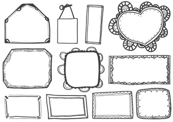 Set of doodle lines hand drawn frames vector illustration