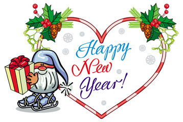 Holiday heart-shaped label with Christmas decorations, funny gnome and greeting