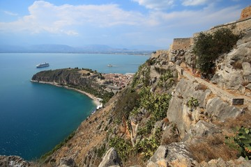 View of the old part of Nafplio town from Palamidi castle