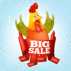 Big sale new year concept card with rooster character