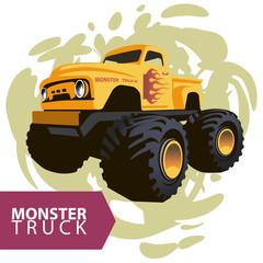 Vector yellow monster truck