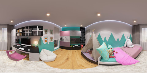 3d illustration spherical 360 degrees, seamless panorama of children's room interior design. Design a child's room for a girl in bright color tones