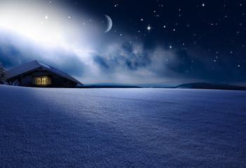 Wall Mural - WEihnachthütte in Winternacht