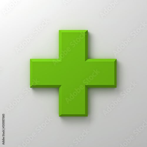 quotgreen plus sign abstract on white wall background with