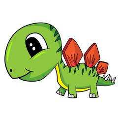 Illustration of Cute Cartoon Baby Stegosaurus Dinosaur. Vector EPS 8.