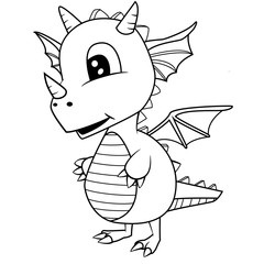 Illustration of Cute Black and White Cartoon Baby Dragon.Vector EPS 8.
