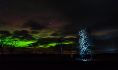 Northern lights (Aurora borealis) in the illuminated sky