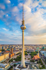 Berlin TV tower at sunset, Germany