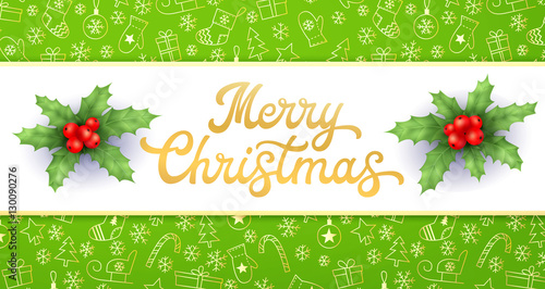 merry christmas gold xmas lettering inscription and holly on green christmas background with sleighs