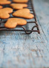 heart shape cookies on a blue shabby style