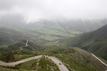 View over the Cuesta del Obispo road between Cachi and Salta, Salta Province, Argentina, South America