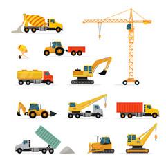 Set of Heavy Construction Machines Illustrations