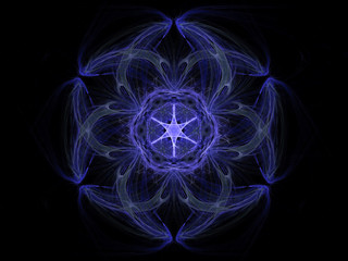 Fractal pattern of  blue star with hearts  on  black background