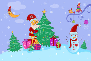 Santa with gift for Merry Christmas holiday celebration background