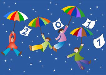 anno nuovo con bambini in volo con ombrelli