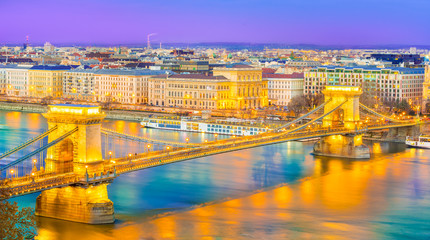 Wall Mural - Panoramic view over  Szechenyi Chain Bridge and Danube River  of Budapest, capital of Hungary.