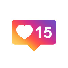 Like, comment, follower icon. Flat vector illustration with heart on gradient background.