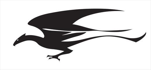 Stylized image of flying dragon.