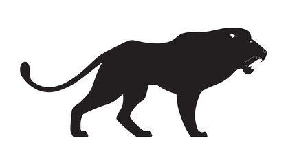 Roaring lion on white background. Vector illustration.