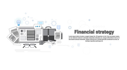 Financial Strategy Marketing Plan Business Web Banner Thin Line Vector Illustration