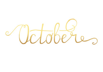 October. Typographic Design. Black Hand Lettering Text Isolated on White Background. For Housewarming Posters, Greeting Cards, Home Decorations, Business Presentation. Vector illustration