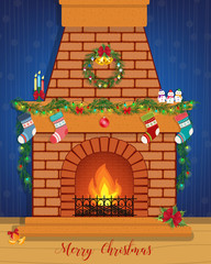 Christmas card with a decorated fireplace.